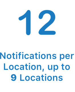 Configure up to 12 Notifications per location
