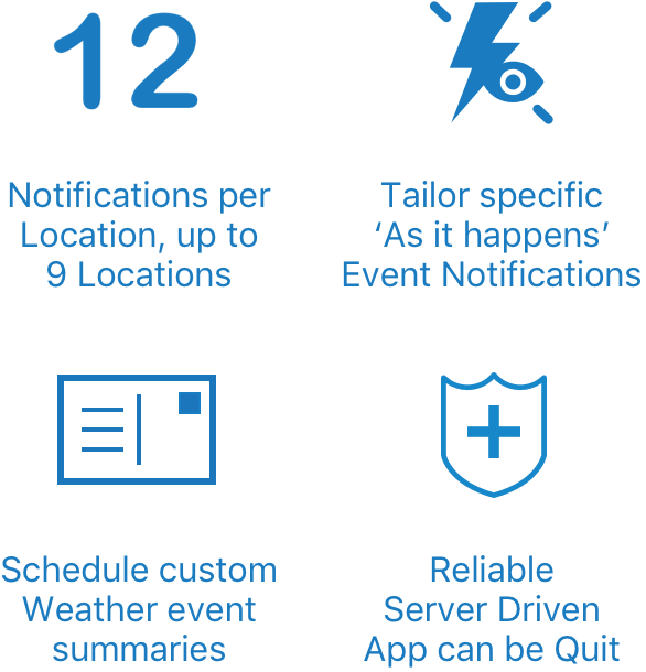 Configure up to 12 Notifications per location. Schedule Notifications at a time to suit you. Tailor specific as it happens notifications. Reliable notifications, server driven.